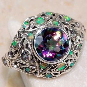 Jewelry - 2CT Rainbow Topaz & Opal .925 Sterling Silver Ring